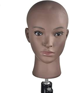 MIAOMANZI Bald Female Training Head Cosmetology Mannequin Head for Wigs Making and Display with Free clamp