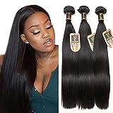 Yavida Meche Bresilienne lot Cheveux Bresilien Lisse Tissage en Lot Tissage Cheveux Humain Bresilienne Raide Mèches Bresiliennes Naturelles 12 14 16 Pouce