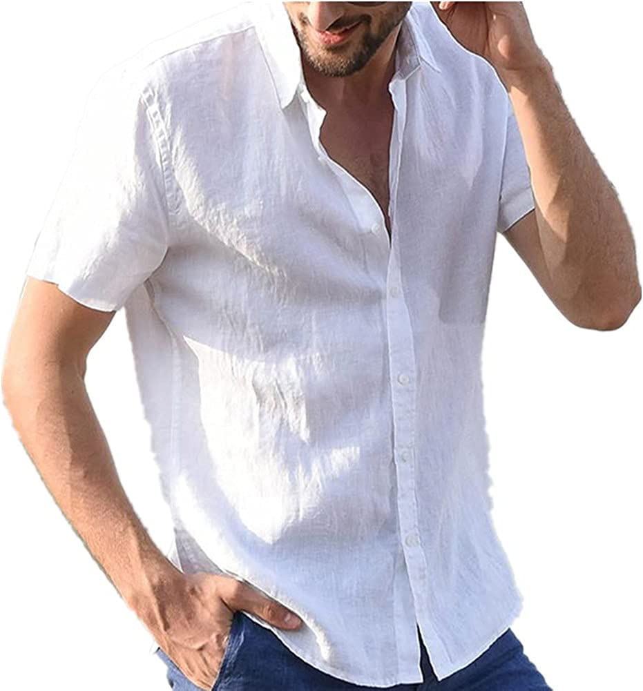 kaimimei Men's Short Sleeve Shirts Summer Linen Cotton Button Down Tops Casual Beach Blouses