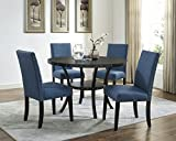 Roundhill Furniture Collection Biony Espresso Wood Dining Set with Blue Fabric Nailhead Chairs,