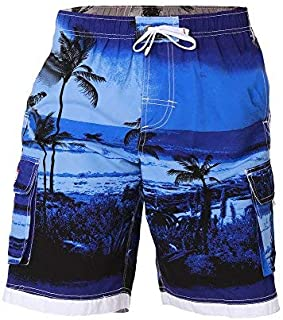 Boys Quick Dry Swim Trunks Cargo Water Shorts With Mesh Lining (Blue Palm 2T) [並行輸入品]