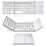 NBWS Bluetooth Teclado con TouchPad Plegable Triple inalámbrico Ultra-Slim Bluetooth 3.0[QWERTZ Alemán de disposición] Blanco Plateado