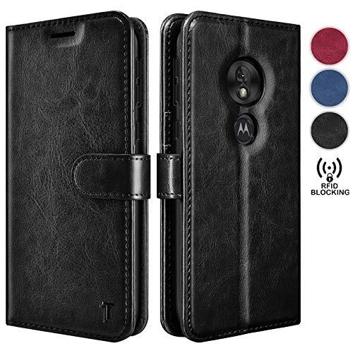 Moto G7 Play Case, T-Mobile Revvlry/Moto G7 Optimo (XT1952DL) Wallet Case, Tekcoo Premium [RFID Blocking] Cash ID Credit Card Slots Holder Carrying Vegan Leather Folio Flip Cover Cases [Black]
