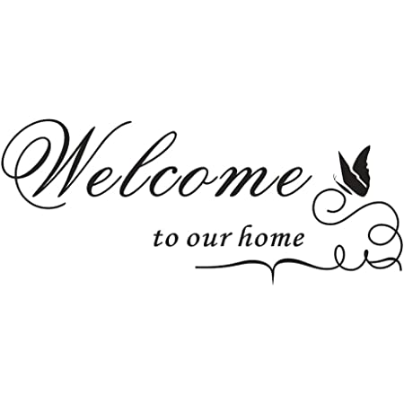 Amazon Com Auhoky Welcome To Our Home Wall Decal Sticker Removable Diy Wallpaper Home Decor For Living Room Dining Room Meeting Room Enthusiastic Friendly 24 10 Inches Black Tools Home Improvement