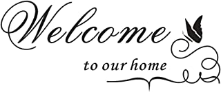 AUHOKY Welcome to Our Home Wall Decal Sticker, Removable DIY Wallpaper Home Decor for Living Room Dining Room Meeting Room - Enthusiastic & Friendly (24×10 inches, Black)
