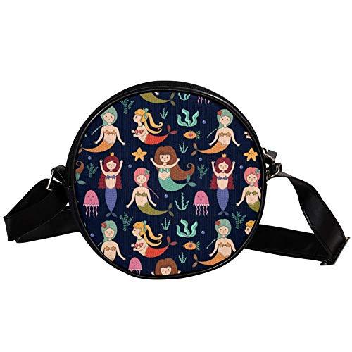 Bennigiry Handtasche mit Meerjungfrauen-Druck, rund, Schultertasche, Tragegriff, für Damen