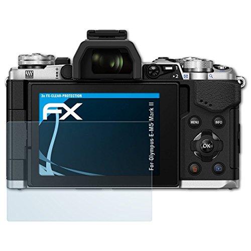 atFoliX Schutzfolie kompatibel mit Olympus E-M5 Mark II Folie, ultraklare FX Displayschutzfolie (3X)