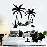 Calcomanía de pared con patrón de palmera, pegatinas de pared de vacaciones de sol, playa, isla, océano, hogar, dormitorio, papel tapiz autoadhesivo A4, 61x57cm
