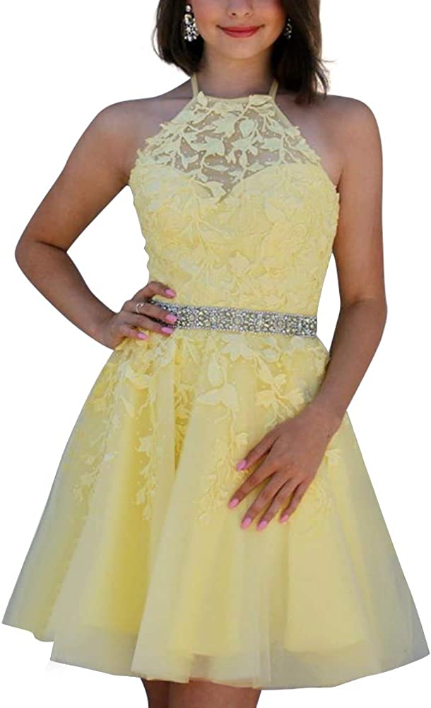 Tulle Short Homecoming Dresses Halter Aline Lace Prom Dress Party Gown Mini for Women