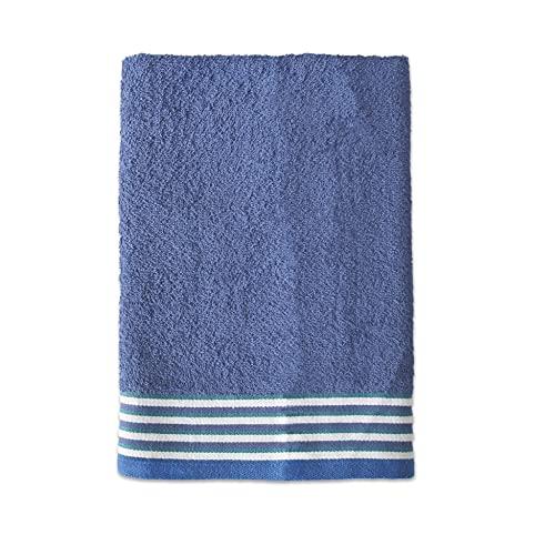 Exotic Cotton Toalla de Ducha de 70 cm x 140 cm - Toalla de Baño Algodón 100% de Rizo Americano - 1 Toalla de Ducha con Diseño Bordado - Tacto Suave y sin Pérdida de Color - Toalla Azul