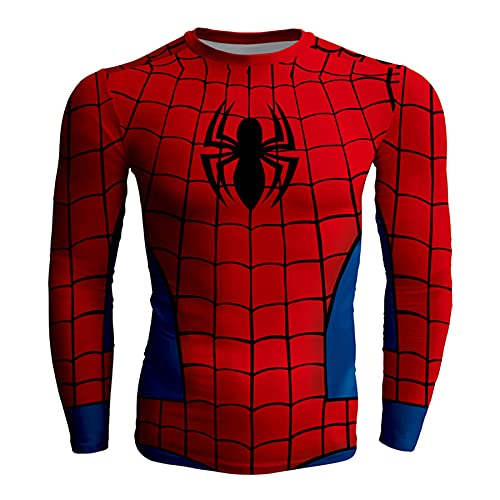 Compresión Hombre Manga Larga Super Héroe Capa Gimnasio Deportes Secado Rápido con Camisa Térmica Entrenamiento Camiseta Fitness,Red-L (Clothes Length 64CM)