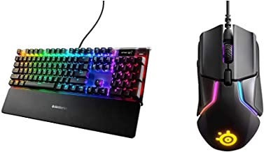 SteelSeries Apex Pro Mechanical Gaming Keyboard & Rival 600 Gaming Mouse - 12,000 CPI TrueMove3Plus Dual Optical Sensor - 0.5 Lift-Off Distance - Weight System - RGB Lighting