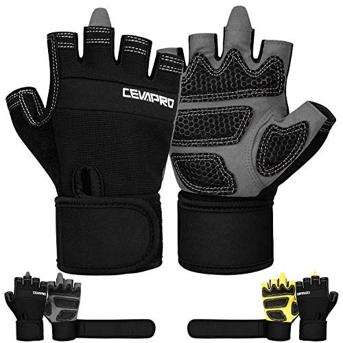 Cevapro Fitness Handschuhe Trainingshandschuhe mit Handgelenkstütze für Krafttraining Gewichtheben Crossfit Bodybuilding Radsport Gym Damen Herren (Schwarz, Medium)