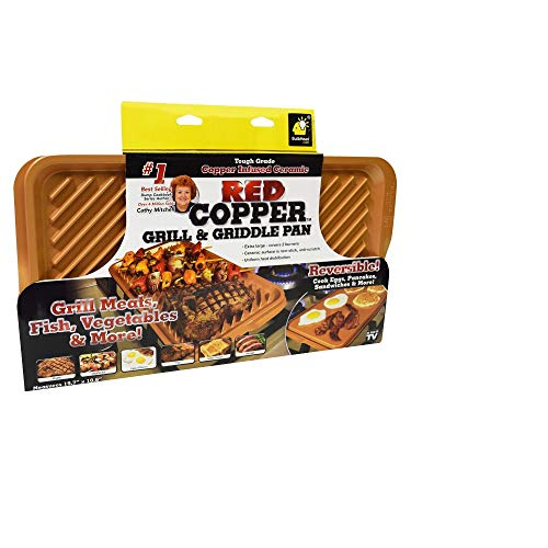 As Seen On TV Red Copper Reversible Grill & Griddle Pan XL 2 Burner Sz Ceramic Non Stick A015