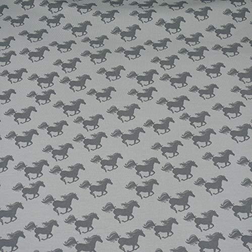 Sommersweat Pferde, grau (25cm x 150cm)