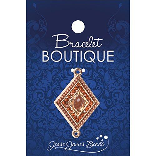 Jesse James metalen armband Boutique Focal Bead-Diamond vorm met bruine stenen