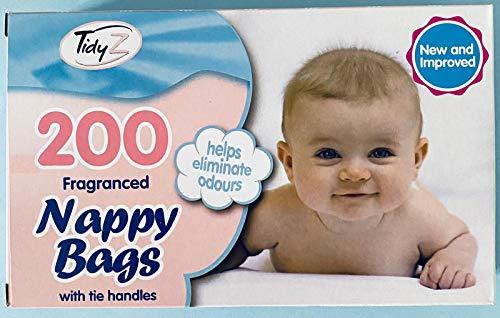 400 bolsas de pañales desechables perfumadas con asas de corbata (400 bolsas de pañales en total), 2 paquetes