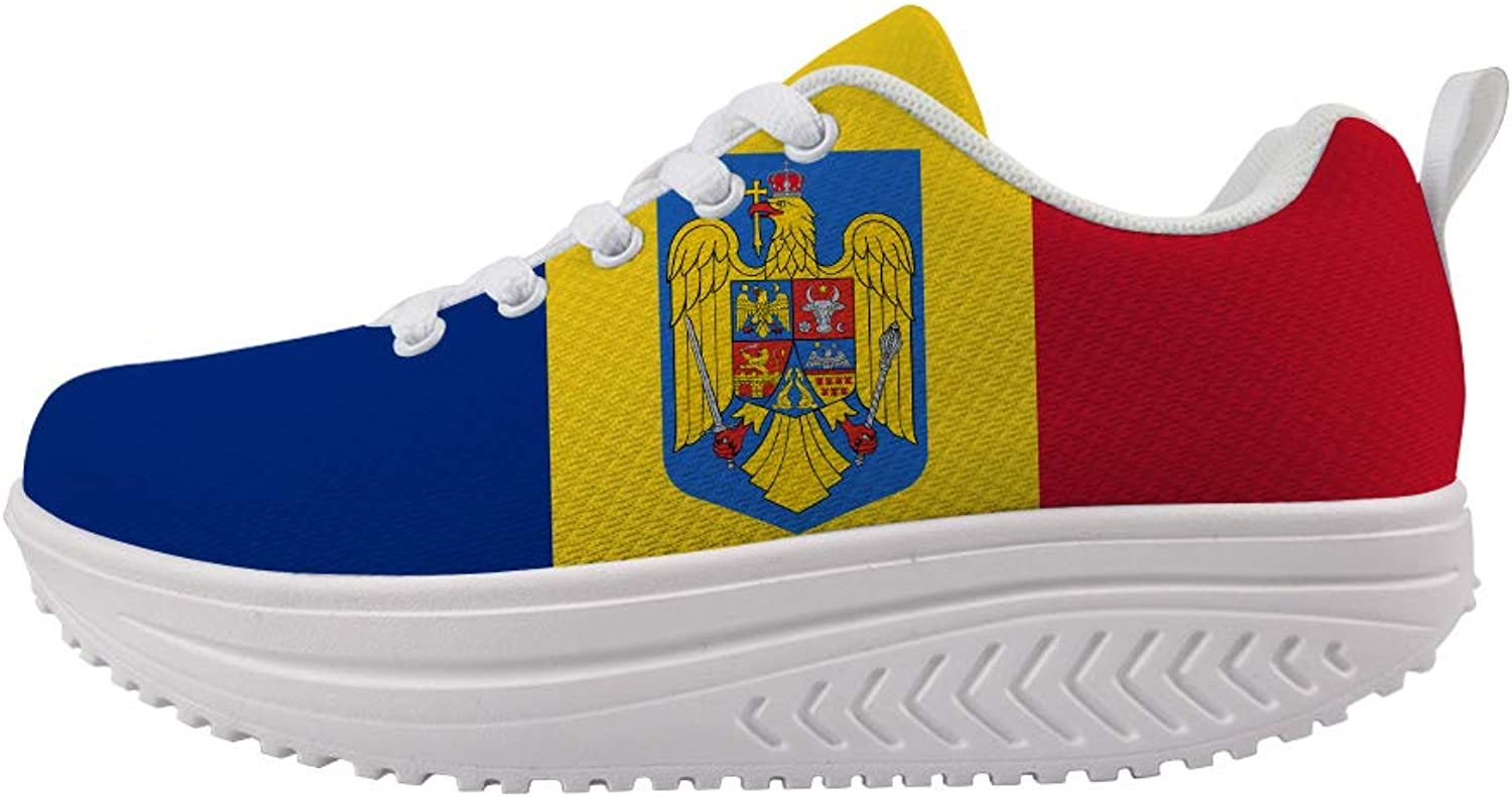 Owaheson Swing Platform Toning Fitness Casual Walking shoes Wedge Sneaker Women Romania Flag National Emblem