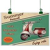 Vintage Wall Painting Scooter Motorbike Summer Travel Italian City Sight Hipster Enjoy Ride Illustration Room Decor Multicolor
