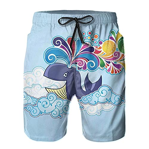 FULIYA Men's Beach Shorts/Flying Happy Whale On Clouds with Clods On Men Shorts Casual Workout Elastic Waist Short Pants Drawstring Shorts with Pockets