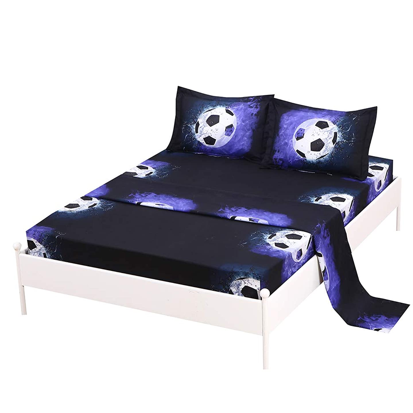 SDIII 4PC Football Bed Sheets Queen Size Sport Bedding Sheet Sets with Flat Fitted Sheet for Boys, Girls and Kids