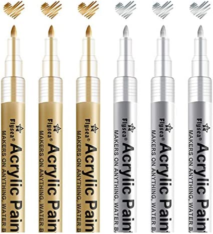 Paint Pen Gold Silver Metallic Permanent Acrylic Markers Set for Fabric Glass Rock Wooden Ceramic product image
