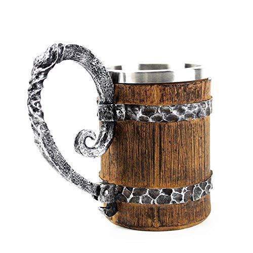 LBSST Barril de imitación de Madera Tazas de Cerveza de Acero Inoxidable Estilo Vikingo Taza de Cerveza de Madera Jarra Vasos