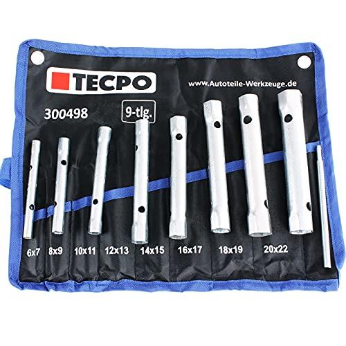 TECPO Rohr Steckschlüssel Satz Rohrschlüssel Set Werkzeug Schlüssel, 6x7-20x22 mm, 8-tlg.