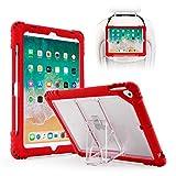 TopEsct Funda para iPad 9.7''(iPad 5th/6th Generation, iPad Air,iPad Air2, iPad Pro 9.7)- Carcasa Protectora Resistente Híbrida con Portalápices y Soporte (Rojo)