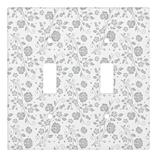 2 Gang Wall Plate Cover Decorator Wall Switch Light Plate Double Toggle Switch Elegant Wedding Floral Pattern 4 Classic Beadboard Unbreakable Faceplate