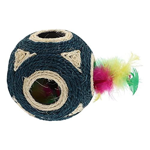 M I A Katzenspielzeug, Sisalball, interaktiver Katzenball, 6 Löcher, Sisal-Seil-Ball, Haustier-Kratzball, freundlicher Katzen-Seilball, Blau (Farbe: Blau)