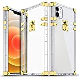 XNMOA Compatible with iPhone 12 Pro Max Clear Case,Square Case Durable Soft Retro Golden Decoration with TPU Bumper Shockproof Transparent Hard Back Protective Phone Case 6.7Inch