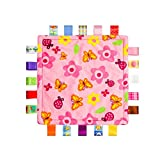 Inchant Colorful Ribbons Baby Taggy Blanket Comforter appese Towel, Flower Shape Kids Toddlers Security Blanket