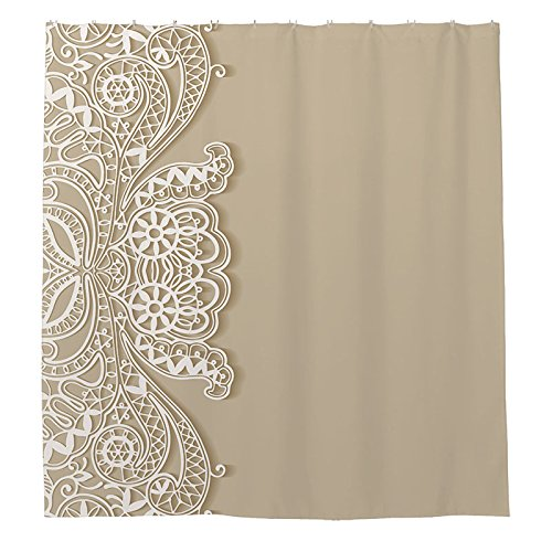 Duschvorhang Polyester weiß Lace Banners schlicht Duschvorhang 180cm x 180cm mit Duschvorhangringe