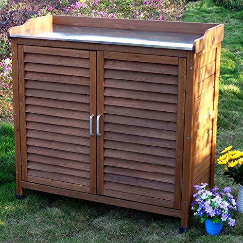 HOBIRD Gabinete de Herramientas de 2 Puertas de Color Natural de Madera de cobertizo de Utilidad al Aire Libre Cobertizo de jardín Armario de jardín