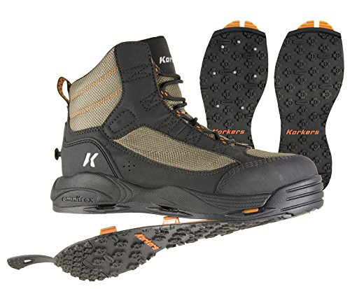 Korkers Greenback Wading Boot with Kling-On & Studded Kling-On Soles, Dried Herb/Black , Size 11
