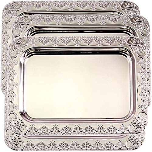Maro Megastore (Pack of 4) 35.4 cm x 25.5 cm Oblong Chrome Plated Mirror Silver Serving Tray Stylish Design Floral Engraved Edge Decorative Party Birthday Wedding Buffet Wine Platter Plate CC-1151