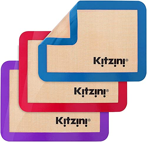 Kitzini Silicone Baking Mat Set. Non-Stick Silicone Mats for Baking. 3 Quarter Baking Sheets. BPA Free. Professional Grade Silicon Baking Sheet. Silicone Baking Mats for Cookies, Macarons & Pastry