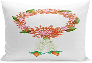 Emvency Throw Pillow Cover Symbol of Love and Luxury Beautiful Flower Garland Red Pillow Case Cushion Cover Lumbar Pillowcase Decoration for Couch Sofa Bedding Car Home Decor 20 x 30 inchs