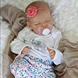 JIZHI Lifelike Reborn Baby Dolls Full Body Vinyl 17 Inch Washable Realistic Newborn Baby Dolls with Clothes and Toy Accessories Gift for Kids Age 3+