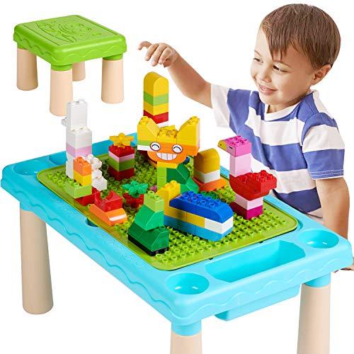 WYSWYG Kinder Aktivitätstisch Sitzgruppe, 6in1 Tisch-undStuhlset mit 90 Stücke Building Blocks, Extra Großem kindertisch für Jungen und Mädchen, kreativ Bauplatten, Large Stauraum