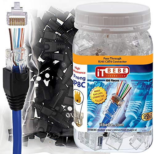 ITBEBE 100-Pieces Pass Through RJ45 Cat6 Connectors and 100-Pieces...