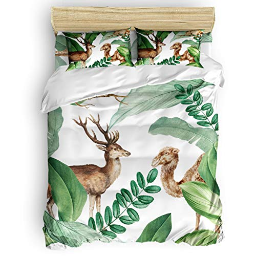 Big buy store Tropical Plant Leaves 4 Piece Duvet Cover Set Deer Camel Bed Sheets Quilt Cover for Kids/Adults Bedroom Decoration Full Size