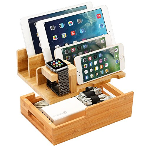 Charging Station for Multiple Devices Wood Dock Organizer Charging Station with Apple Watch, iPhone, iPad, Universal Mobile Phones and Tablets, Compatible with Anker RAVpower 4/5/6-Port USB Chagrer