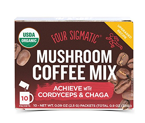 Four Sigmatic Mushroom Coffee, USDA Organic Coffee with Cordyceps and Chaga mushrooms, performance, Vegan, Paleo, 10 Count, Packaging May Vary
