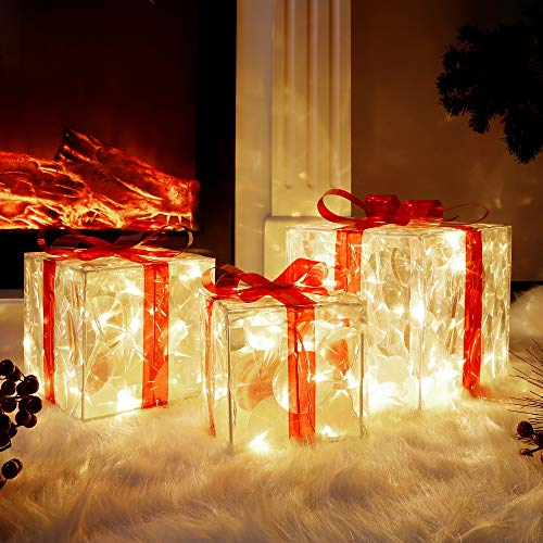 Lulu Home Christmas Lighted Boxes, Set of 3 60 LED Light Up Deocr Outdoor, Light Up Christmas Boxes Present Decorations Outdoor Yard