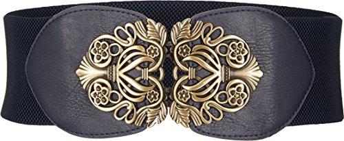 BlackButterfly 3 Zoll Breit Korsett Elastische Vintage Taillengürtel (Nachtblau, M)