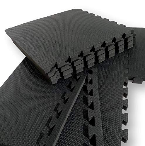 Kit com 12 Tatames Tapetes EVA Com Borda 50cm X 50cm X 1cm Preto