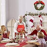 KATOOM Weihnachten Schürze Lustig Kochschürze Schneemann Weihnachtsmann Rentier Küchenschürze Rot Latzschürze für Weihnachtensparty Heiligabend Chef Damen Herren - 4