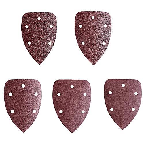 50 Piezas Papel de lija de triángulo Hojas de lija de lijado Almohadillas de lijadora multilijadora 5 orificios, hojas de lija